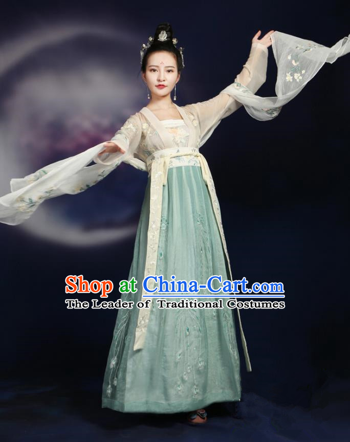 Traditional Ancient Chinese Tang Dynasty Palace Lady Apsara Flying Dance Costume Embroidered Slip Skirt, Elegant Hanfu Clothing Chinese Imperial Princess Clothing for Women