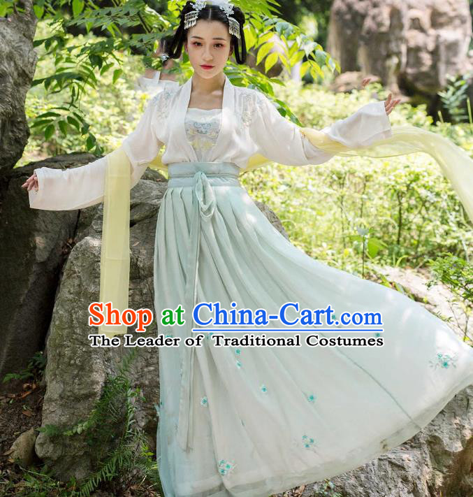Traditional Ancient Chinese Tang Dynasty Palace Lady Embroidered Costume Complete Set, Elegant Hanfu Clothing Chinese Imperial Princess Dress Clothing for Women