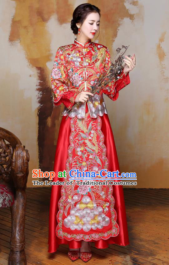 Traditional Ancient Chinese Wedding Costume Embroidery Long Sleeve Xiuhe Suits, Chinese Style Wedding Dress Red Restoring Longfeng Dragon and Phoenix Flown Bride Toast Cheongsam for Women