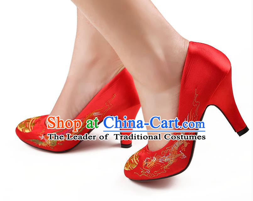 Traditional Ancient Chinese Wedding Embroidery Shoes, Chinese Style Wedding Red Dragon and Phoenix Bride High-heeled Shoes for Women