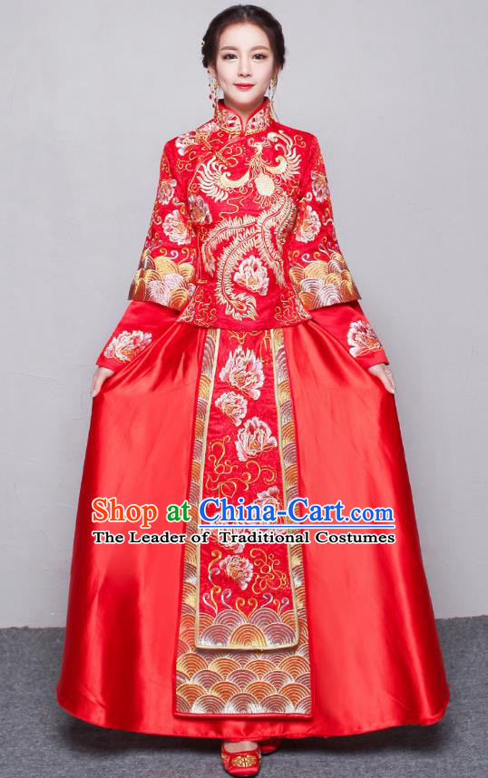 Traditional Ancient Chinese Wedding Costume Embroidery Peony Xiuhe Suits, Chinese Style Wedding Dress Red Dragon and Phoenix Flown Bride Toast Cheongsam for Women