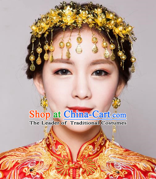 Traditional Handmade Chinese Ancient Classical Hair Accessories Bride Wedding Tassel Golden Phoenix Coronet, Xiuhe Suit Hair Jewellery Hair Fascinators Hairpins for Women