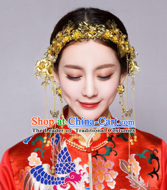 Traditional Handmade Chinese Ancient Classical Hair Accessories Bride Wedding Tassel Golden Hair Clasp, Xiuhe Suit Hair Jewellery Hair Fascinators Hairpins for Women