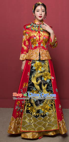 Traditional Ancient Chinese Wedding Costume Handmade XiuHe Suits Full Embroidery Phoenix Bride Toast Cheongsam Dress, Chinese Style Hanfu Wedding Clothing for Women