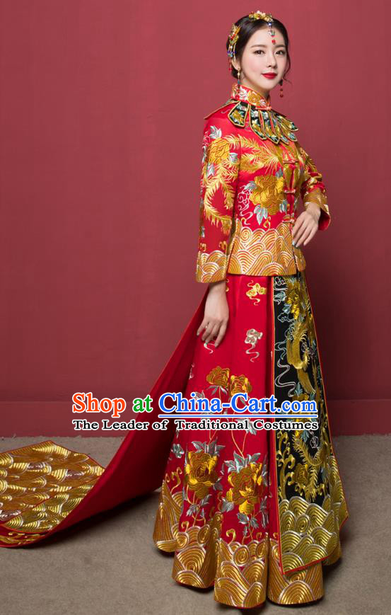 Traditional Ancient Chinese Wedding Costume Handmade XiuHe Suits Full Embroidery Phoenix Bride Toast Cheongsam Trailing Dress, Chinese Style Hanfu Wedding Clothing for Women
