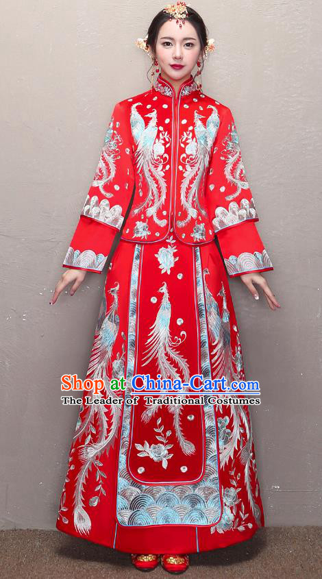 Traditional Ancient Chinese Wedding Costume Handmade XiuHe Suits Embroidery Phoenix Dress Bride Toast Cheongsam, Chinese Style Hanfu Wedding Clothing for Women