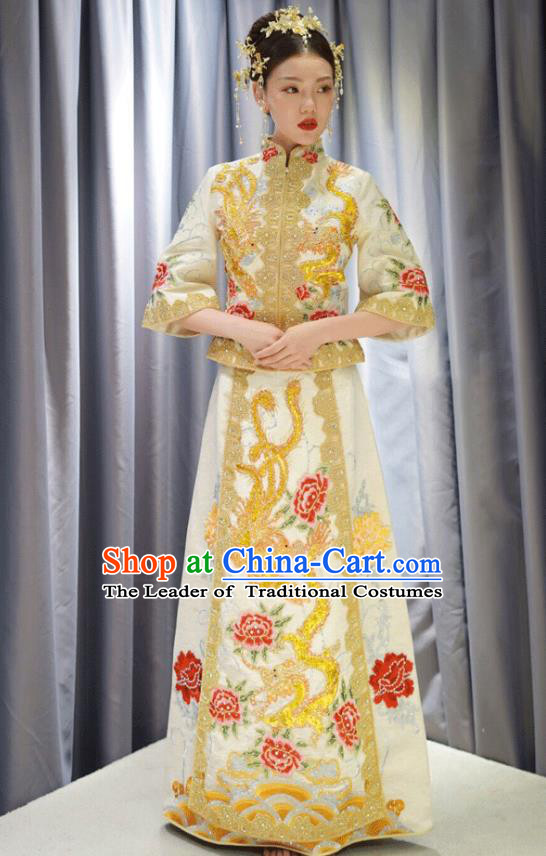 Traditional Ancient Chinese Wedding Costume Handmade XiuHe Suits Embroidery Slim Dress Bride Toast White Cheongsam, Chinese Style Hanfu Wedding Clothing for Women