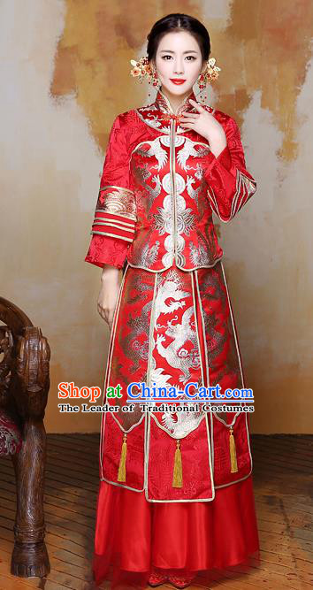 Traditional Ancient Chinese Wedding Costume Handmade Delicacy Embroidery Phoenix Dress Xiuhe Suits, Chinese Style Wedding Flown Bride Toast Cheongsam for Women