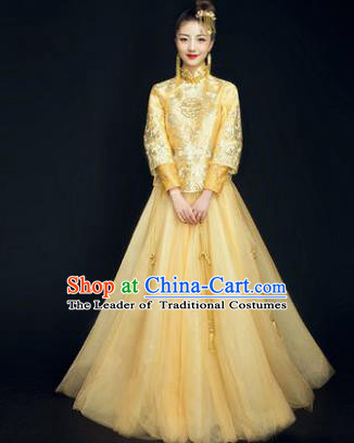 Traditional Ancient Chinese Wedding Costume Handmade Delicacy Embroidery Phoenix XiuHe Suits Yellow Plated Buttons Dress, Chinese Style Hanfu Wedding Bride Toast Cheongsam for Women