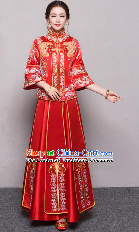 Traditional Ancient Chinese Wedding Costume Handmade Delicacy Embroidery Phoenix Peony Red XiuHe Suits, Chinese Style Hanfu Wedding Bride Toast Cheongsam for Women