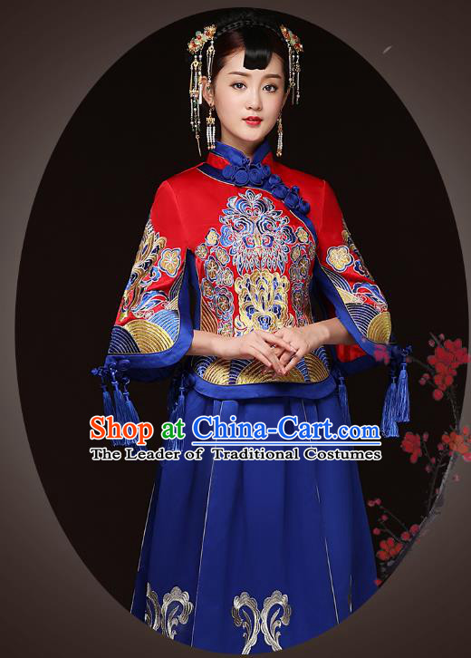 Traditional Ancient Chinese Wedding Costume Handmade Delicacy Embroidery XiuHe Suits Blue Bottom Drawer, Chinese Style Hanfu Wedding Bride Toast Cheongsam for Women