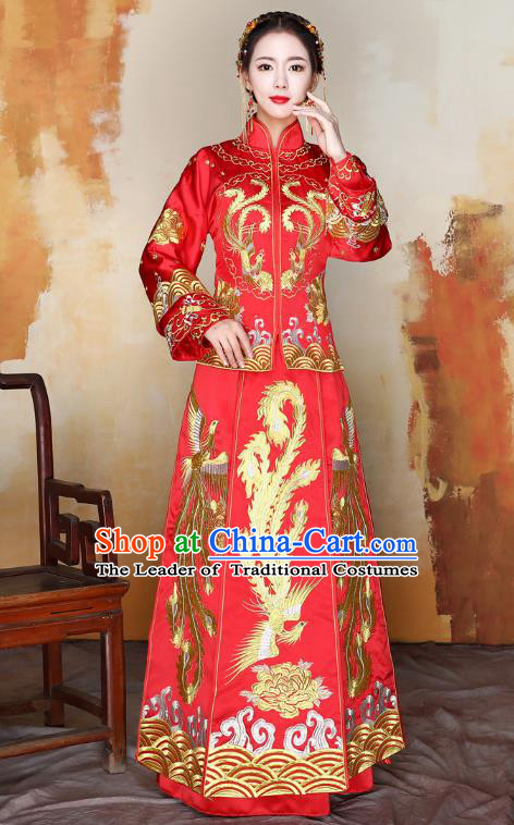 Traditional Ancient Chinese Wedding Costume Handmade Delicacy XiuHe Suits Embroidery Phoenix Cheongsam Palace Bottom Drawer, Chinese Style Hanfu Wedding Bride Hanfu Clothing for Women