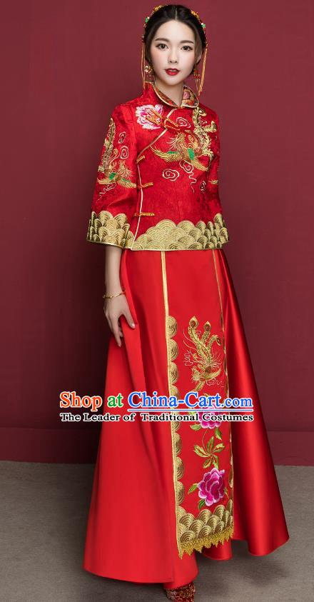 Traditional Ancient Chinese Wedding Costume Handmade Delicacy XiuHe Suits Embroidery Peony Seven Sleeve Cheongsam Palace Bottom Drawer, Chinese Style Hanfu Wedding Bride Hanfu Clothing for Women