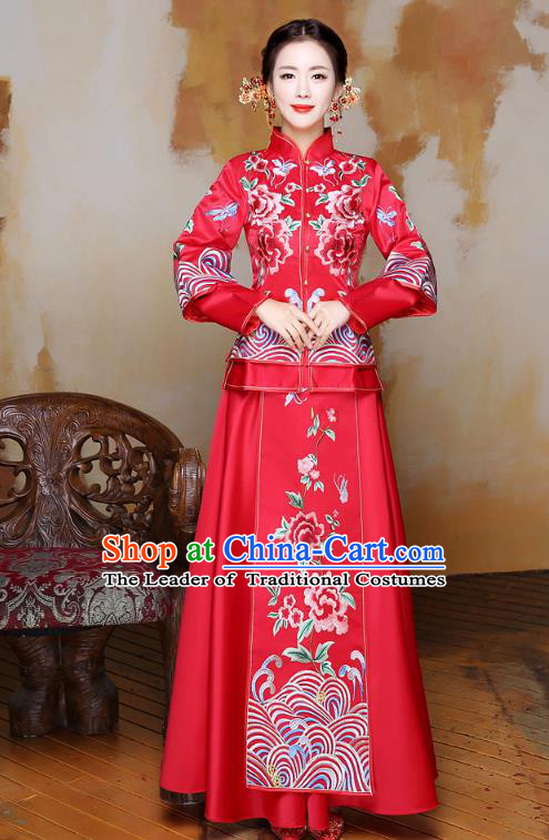 Traditional Ancient Chinese Wedding Costume Handmade Delicacy XiuHe Suits Embroidery Peony Palace Bottom Drawer Cheongsam Dress, Chinese Style Hanfu Wedding Bride Hanfu Clothing for Women