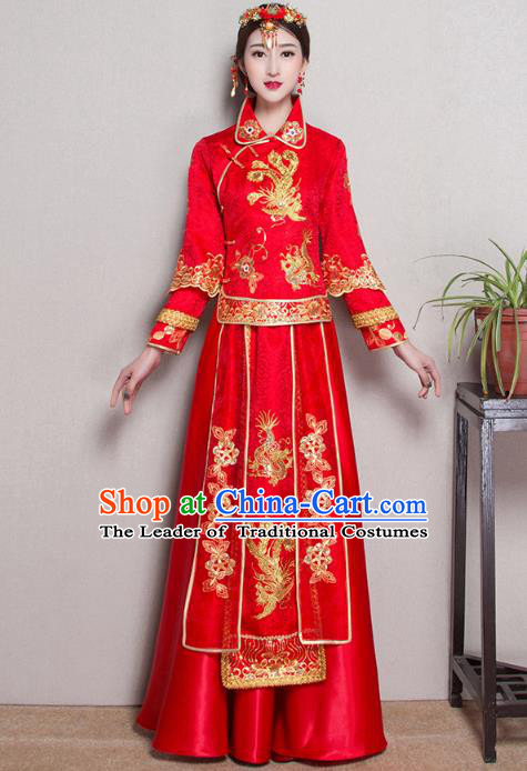 Traditional Ancient Chinese Wedding Costume Handmade XiuHe Suits Embroidery Phoenix Bride Toast Cheongsam Dress, Chinese Style Hanfu Wedding Clothing for Women