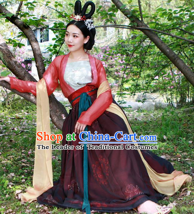 Traditional Ancient Chinese Tang Dynasty Palace Lady Costume Complete Set, Elegant Hanfu Clothing Chinese Imperial Princess Slip Dress Clothing for Women
