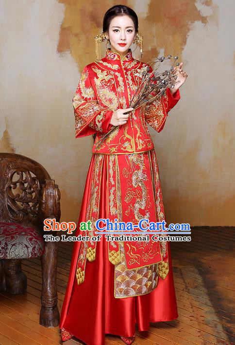 Traditional Ancient Chinese Wedding Costume Handmade Delicacy Embroidery Dragon XiuHe Suits, Chinese Style Hanfu Wedding Bride Toast Cheongsam for Women