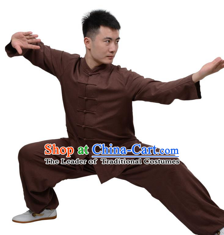 Top Kung Fu Linen Costume Martial Arts Costume Kung Fu Training Clothing, Tai Ji Plated Buttons Coffee Uniform Gongfu Wushu Clothing for Women for Men