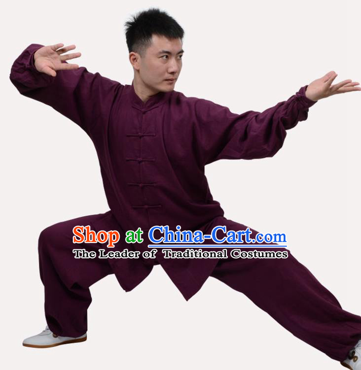 Top Grade Linen Martial Arts Costume Kung Fu Training Clothing, Tai Ji Purple Uniform Gongfu Wushu Costume for Women for Men