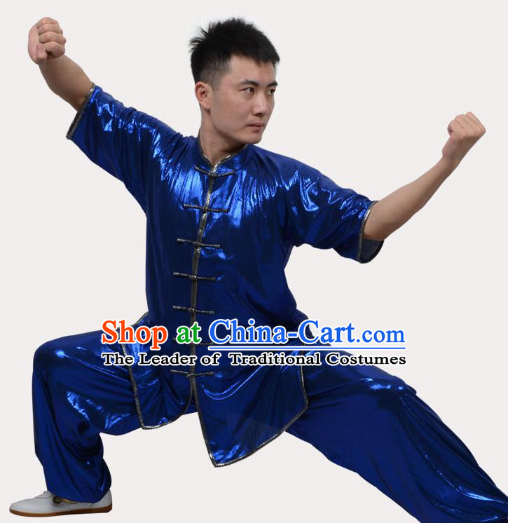 Top Grade Linen Martial Arts Costume Kung Fu Training Plated Buttons Clothing, Tai Ji Southern Fist Blue Uniform Gongfu Wushu Costume for Women for Men