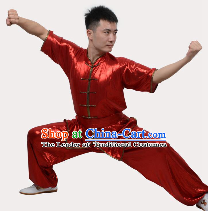 Top Grade Linen Martial Arts Costume Kung Fu Training Plated Buttons Clothing, Tai Ji Southern Fist Red Uniform Gongfu Wushu Costume for Women for Men