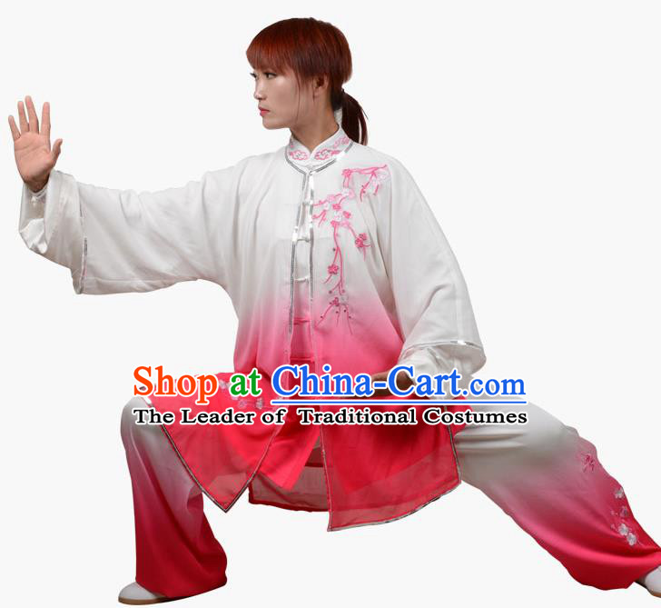 Top Grade Linen Martial Arts Costume Kung Fu Training Embroidered Plum Blossom Clothing, Tai Ji Southern Fist Pink Three-piece Uniform Gongfu Wushu Costume for Women for Men