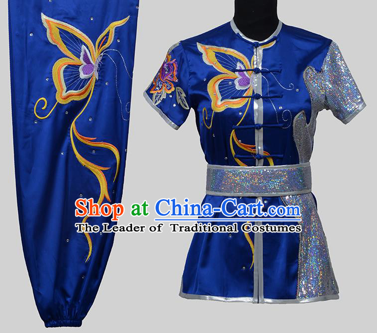 Top Grade China Martial Arts Costume Kung Fu Training Embroidery Butterfly Clothing, Chinese Embroidery Tai Ji Blue Uniform Gongfu Wushu Costume for Women