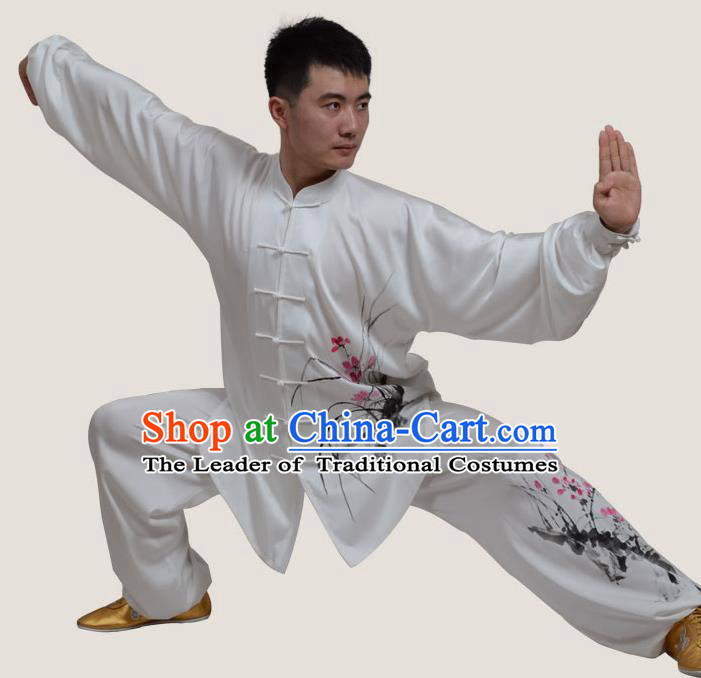 Top Grade China Martial Arts Costume Kung Fu Training Ink Painting Orchid Clothing, Chinese Tai Ji Uniform Gongfu Wushu Costume for Men