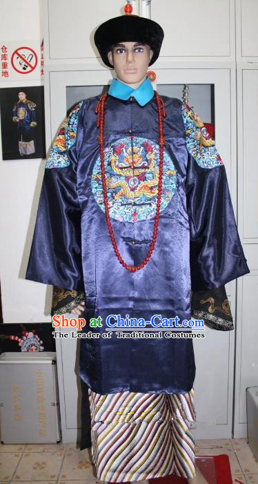 Top Grade Professional Beijing Opera Niche Costume Manchu Prince Blue Embroidered Robe, Traditional Ancient Chinese Peking Opera Qing Dynasty Officer Embroidery Clothing