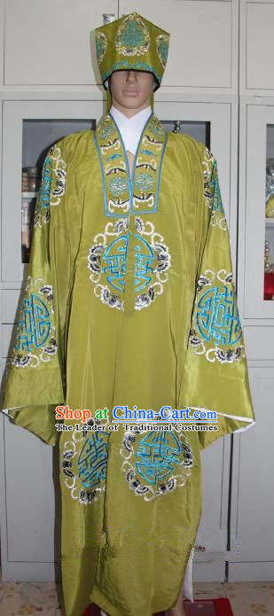 Traditional China Beijing Opera Old Men Costume Embroidered Robe, Ancient Chinese Peking Opera Ministry Councillor Clothing