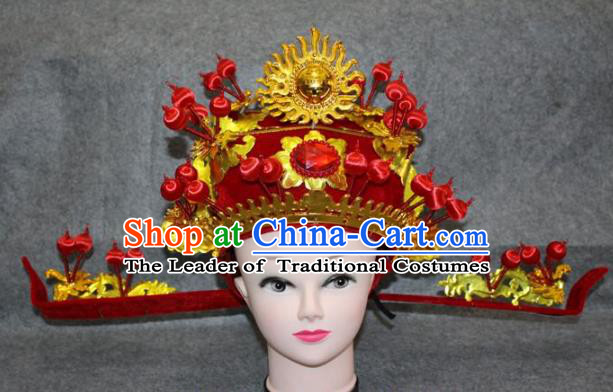 Traditional Handmade Chinese Ancient Classical Hair Accessories Peking Opera Niche Hat, China Beijing Opera God of Wealth Headgear