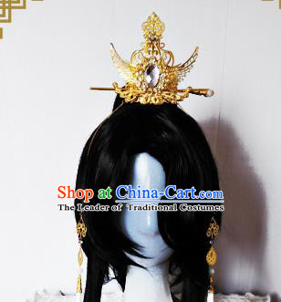 Traditional Handmade Chinese Ancient Classical Hair Accessories Swordsman Golden Tuinga, Hair Jewellery Hair Fascinators for Men