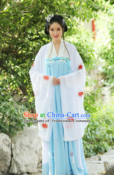 Traditional Chinese Hanfu Han Dynasty Princess Embroidery Chrysanthemum Costume Wide Sleeve Cardigan, Elegant Hanfu Clothing Chinese Ancient Dress for Women