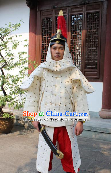 Traditional China Beijing Opera Qing Dynasty General Costume Helmet and Armour, Ancient Chinese Peking Opera Manchu Imperial Bodyguard Warrior White Clothing