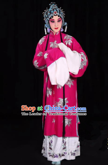 Top Grade Professional Beijing Opera Diva Costume Rosy Water Sleeve Embroidered Dress, Traditional Ancient Chinese Peking Opera Princess Embroidery Clothing