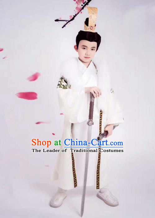 Traditional Chinese Ancient Nobility Childe Costume, Elegant Hanfu Clothing Chinese Han Dynasty Prince Clothing for Kids