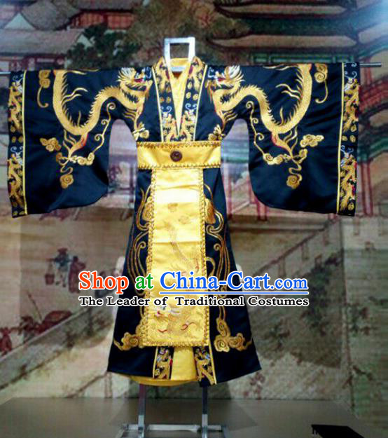 Traditional Chinese Ancient Emperor Costume Embroidered Robe, Chinese Qin Dynasty Royal Highness Embroidery Dragons Gwanbok Clothing