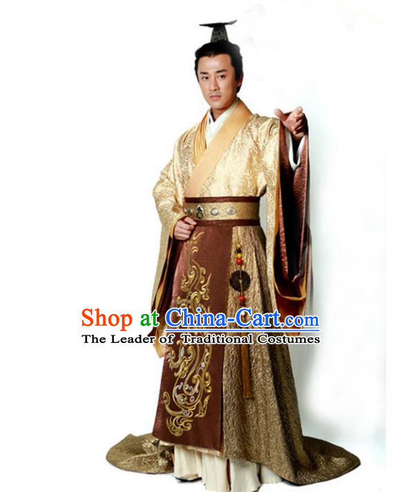 Traditional Chinese Ancient Qin Dynasty Emperor Embroidered Golden Costume, China Han Dynasty Majesty Embroidery Hanfu Clothing