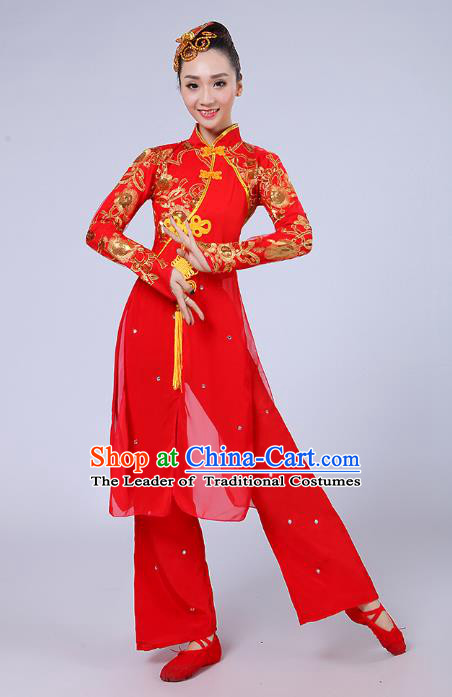 Traditional Chinese Folk Dance Costume Yangge Dance Red Uniform, Chinese Classical Fan Dance Umbrella Dance Yangko Embroidery Clothing for Women