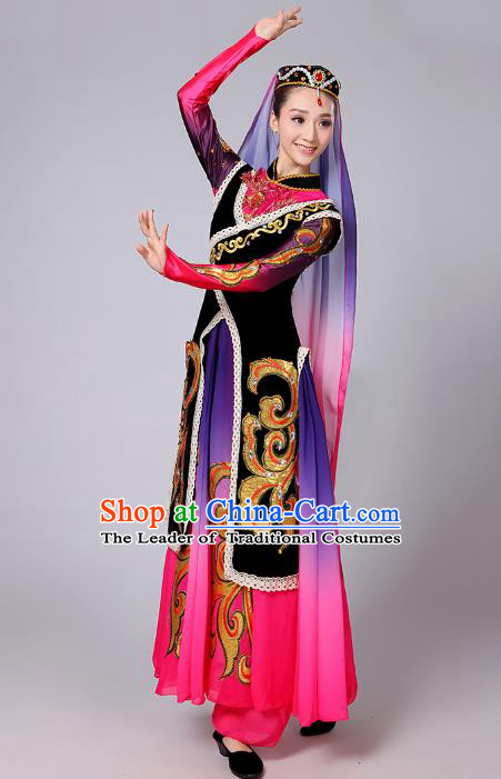 Traditional Chinese Uyghur Nationality Dancing Costume, Folk Dance Ethnic Dress Chinese Minority Nationality Uigurian Dance Clothing for Women