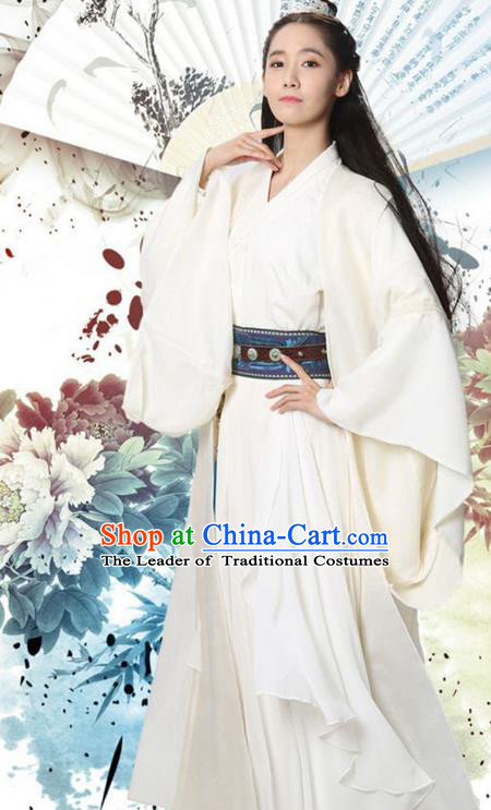 Traditional Ancient Chinese Princess Costume, Elegant Hanfu Clothing Chinese Han Dynasty Swordswoman Embroidered Clothing
