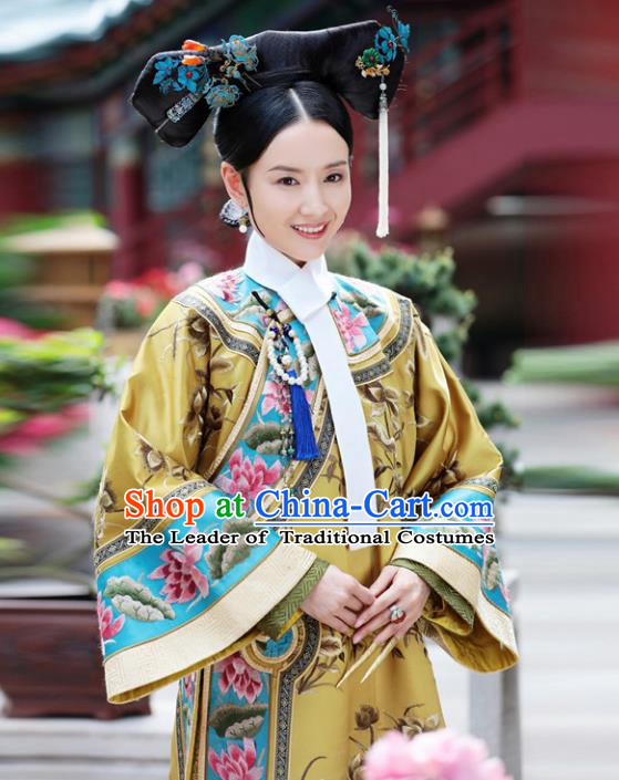 Traditional Ancient Chinese Imperial Consort Costume, Chinese Qing Dynasty Manchu Mandarin Robes Imperial Concubine Embroidered Clothing for Women