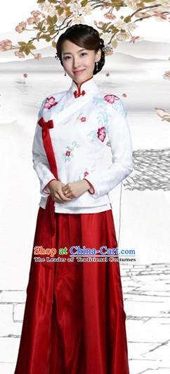 Traditional Chinese Qing Dynasty Young Lady Costume, Elegant Hanfu Clothing Chinese Ancient Republic of China Young Dowager Embroidery Xiuhe Suit Clothing
