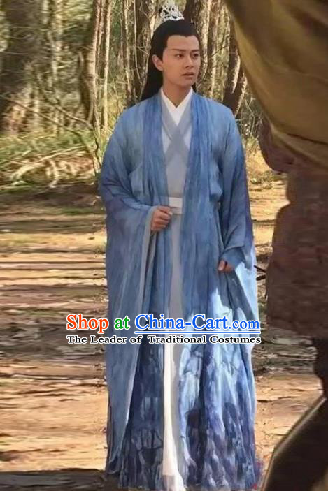 Traditional Chinese Ancient Swordsman Costume Madam White Snake Xu Xian Long Robe, Chinese Han Dynasty Kawaler Hanfu Clothing