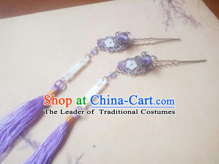 Traditional Chinese Ancient Classical Handmade Hair Accessories Barrettes Princess Purple Tassel Hair Comb, Hanfu Step Shake Hair Fascinators Hairpins for Women