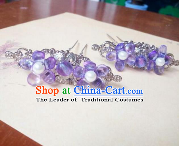 Traditional Chinese Ancient Classical Handmade Hair Accessories Palace Lady Purple Beads Hairpin, Hanfu Hair Stick Hair Fascinators Hairpins for Women