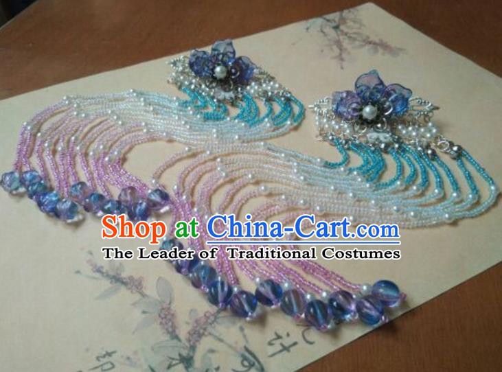 Traditional Chinese Ancient Classical Handmade Palace Princess Beads Hairpin Hair Accessories, Hanfu Tassel Hair Stick Hair Fascinators Hairpins for Women