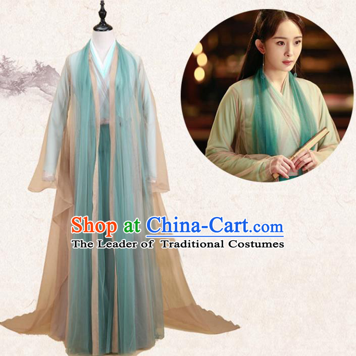 Traditional Ancient Chinese Ten great III of peach blossom Fairy Green Costume, Elegant Hanfu Clothing Chinese Han Dynasty Imperial Princess Dress Clothing for Women