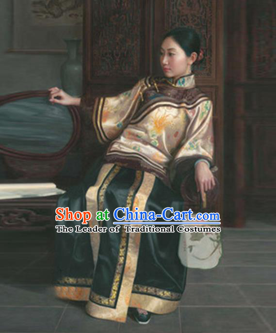 Traditional Ancient Chinese Republic of China Peeresses Costume Xiuhe Suit, Elegant Hanfu Clothing Chinese Qing Dynasty Nobility Dowager Clothing for Women