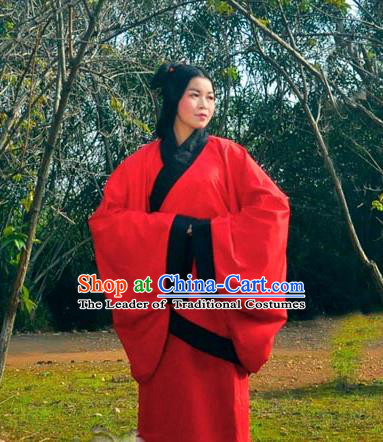 Traditional Ancient Chinese Imperial Consort Wedding Costume, Elegant Hanfu Clothing Chinese Han Dynasty Imperial Empress Red Embroidered Clothing for Women